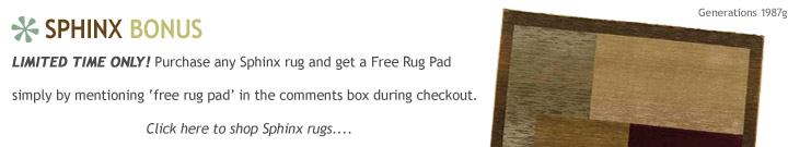 Free pad with Sphinx rugs