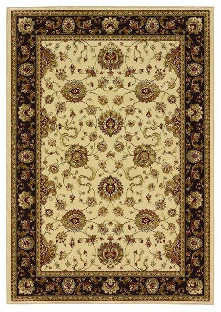 828 Greenville Collection 1-1033-72 Ivory with Brown Border Area Rug - 45237