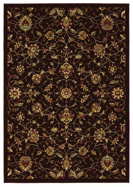 828 Greenville Collection 1-1036-80 Chocolate Brown Floral No Border Area Rug - 45238