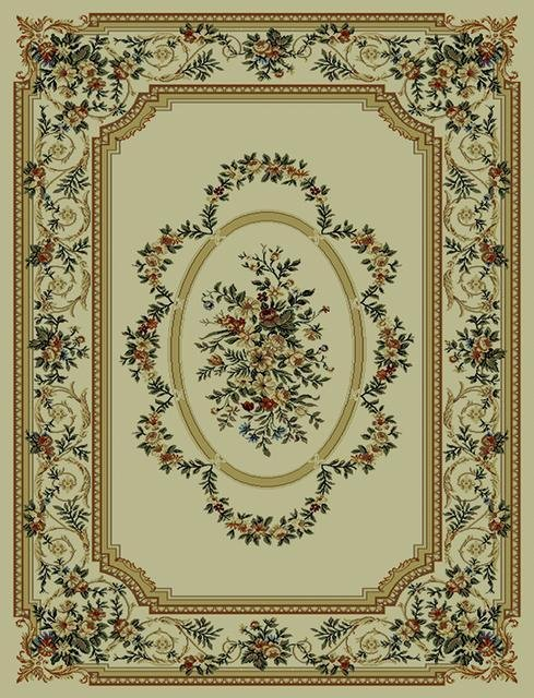 828 Rhine Collection RH13 IV Ivory with Ivory Border Area Rug - 45306