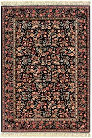 Couristan Gem Louis Xiii Floral Tapestry Black 8587-1898 Area Rug Last Chance - 136692