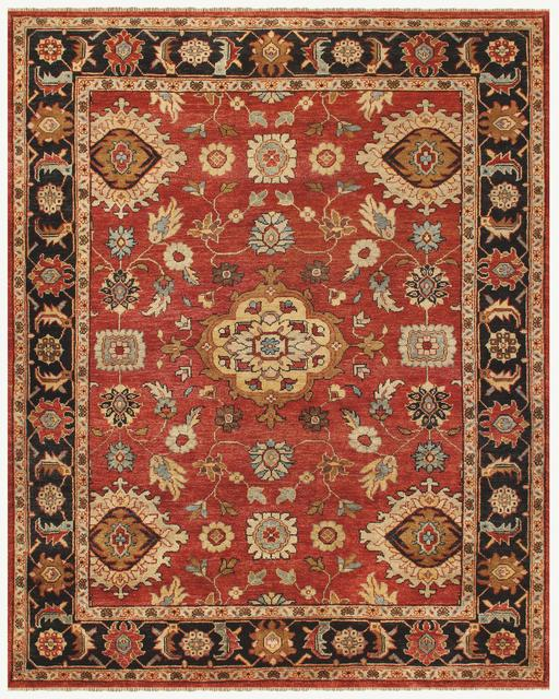 Famous Maker Juliet 44739 Red-Black Area Rug Last Chance| Size| 1' 6'' X 1' 6'' Square - 44739x4