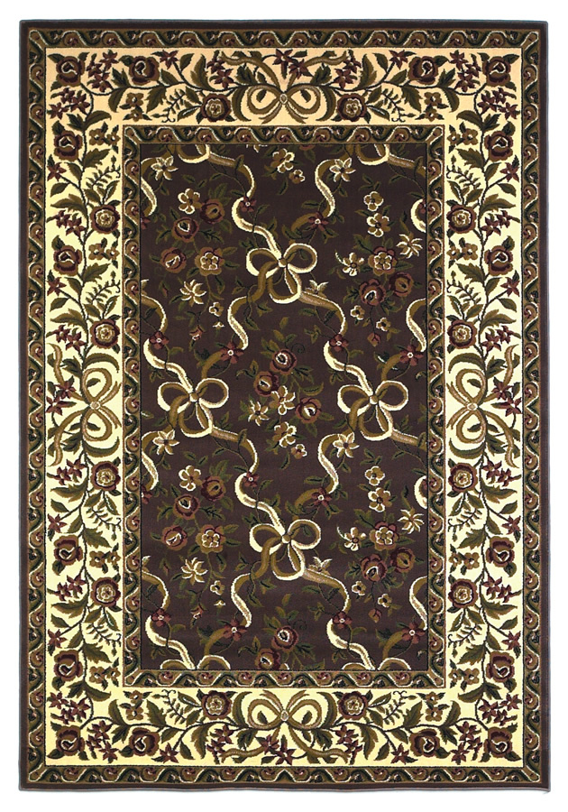 KAS Cambridge Floral Ribbons Plum-Ivory 7311 Area Rug| Size| 3'3'' X 4'11'' - 11937x3