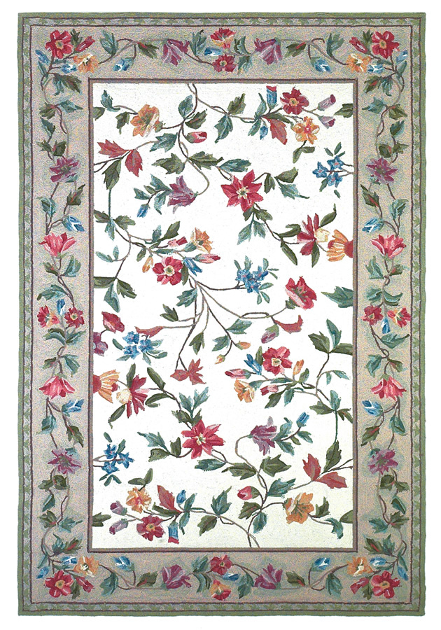 Kas Colonial Floral Vine Ivory 1707 Area Rug| Size| 20'' X 30'' - 11954x1