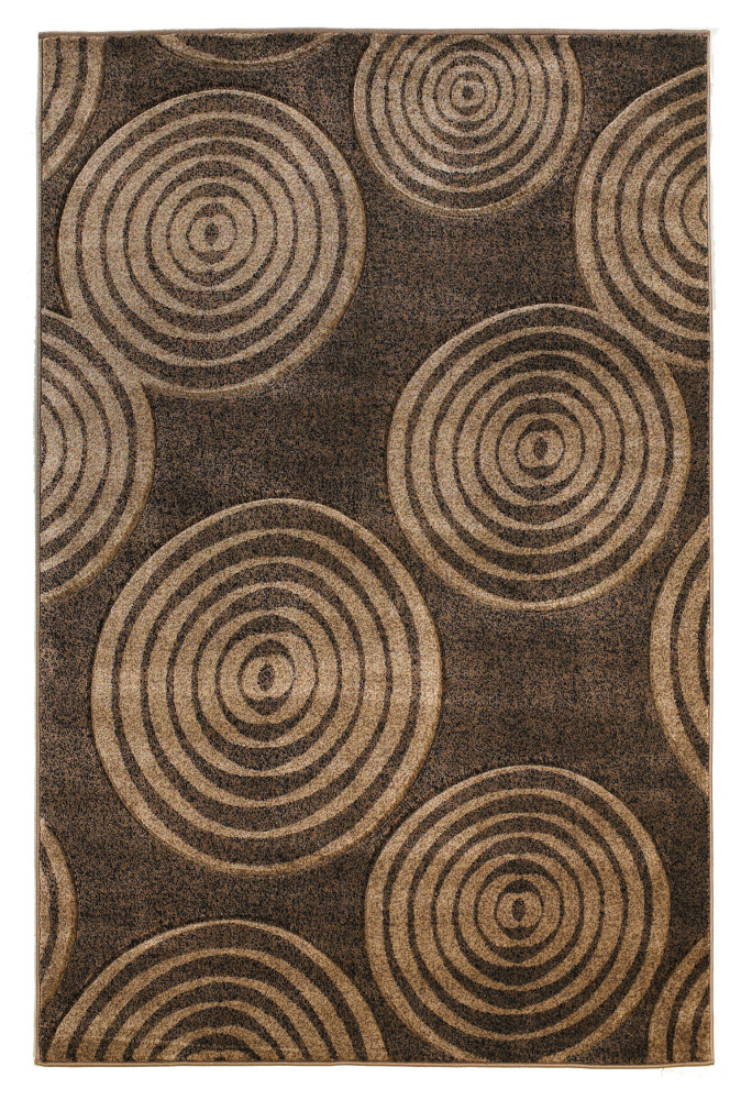 Linon Milan Mn20 Brown - Beige Area Rug| Size| 5 x 7' 7 - 71324x2