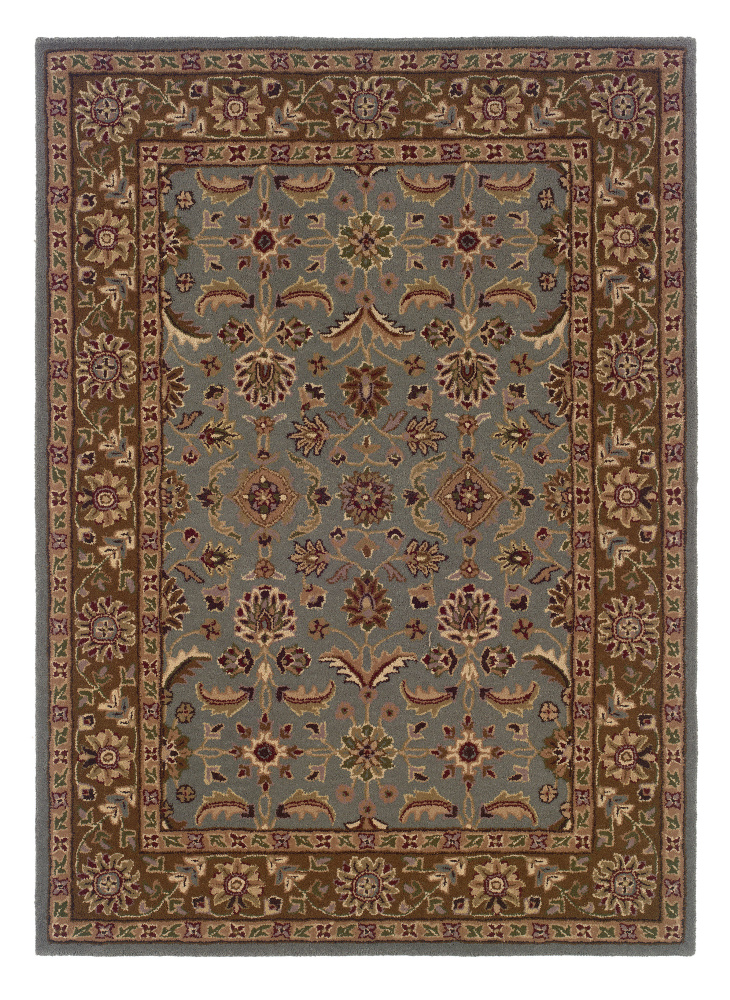 Linon Trio Traditional Tt0581 Light Blue - Brown Area Rug| Size| 1' 10'' X 2' 10'' - 71530x80
