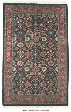 ORG Handtufted Mahal Black-Red Area Rug Last Chance| Size| 1' 8'' X 2' 11'' Small Moon - 136960x2