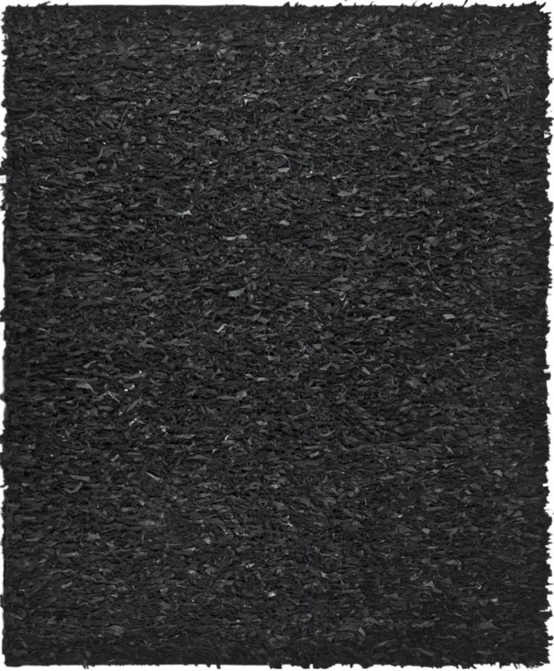 Safavieh Leather Shag Lsg511a Black Area Rug| Size| 4' Round - 61295x5