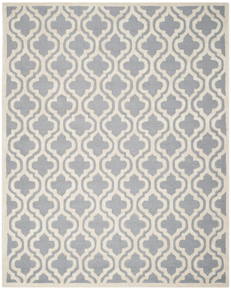 Safavieh Cambridge Cam132d Silver - Ivory Area Rug| Size| 8' X 8' Square - 94108x10