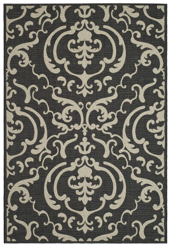 Safavieh Courtyard Cy2663-3908 Sand - Black Area Rug| Size| 6' 7'' X 6' 7'' Square - 98745x11