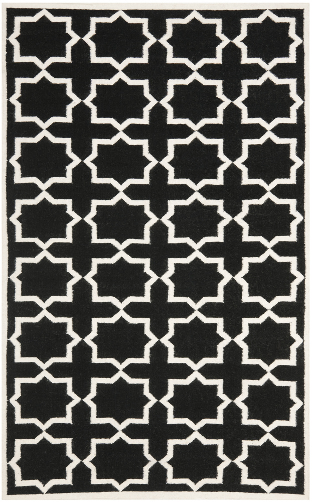 Safavieh Dhurries DHU549L Black - Ivory Area Rug| Size| 3' X 5' - 80547x4