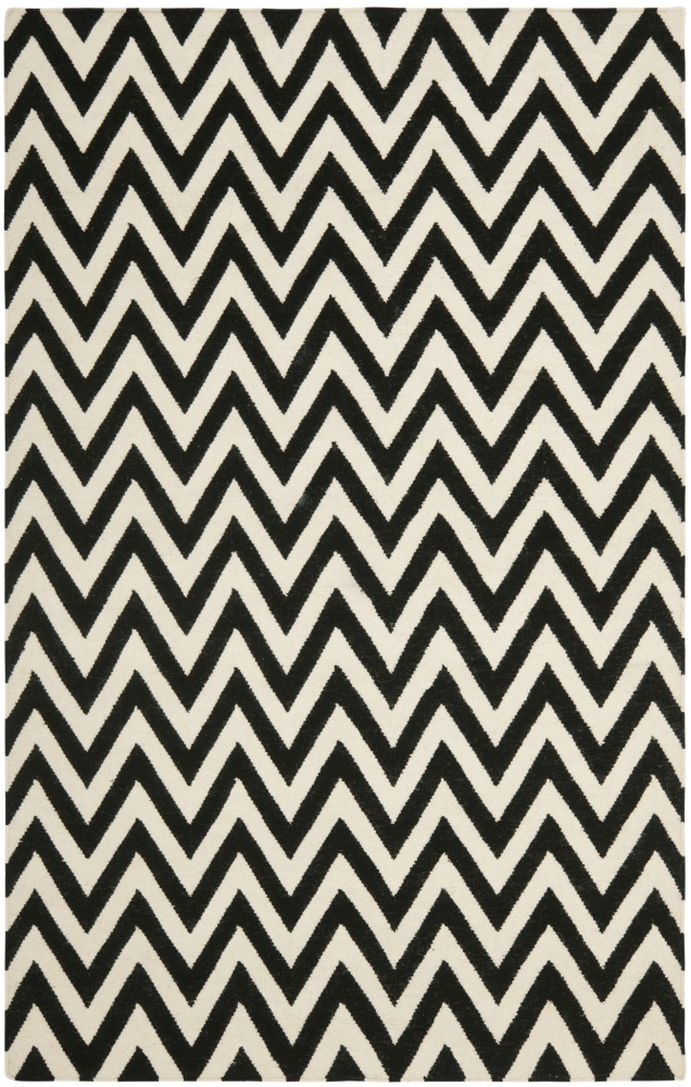Safavieh Dhurries DHU557L Black - Ivory Area Rug| Size| 2'6''X10' Runner - 80560x2