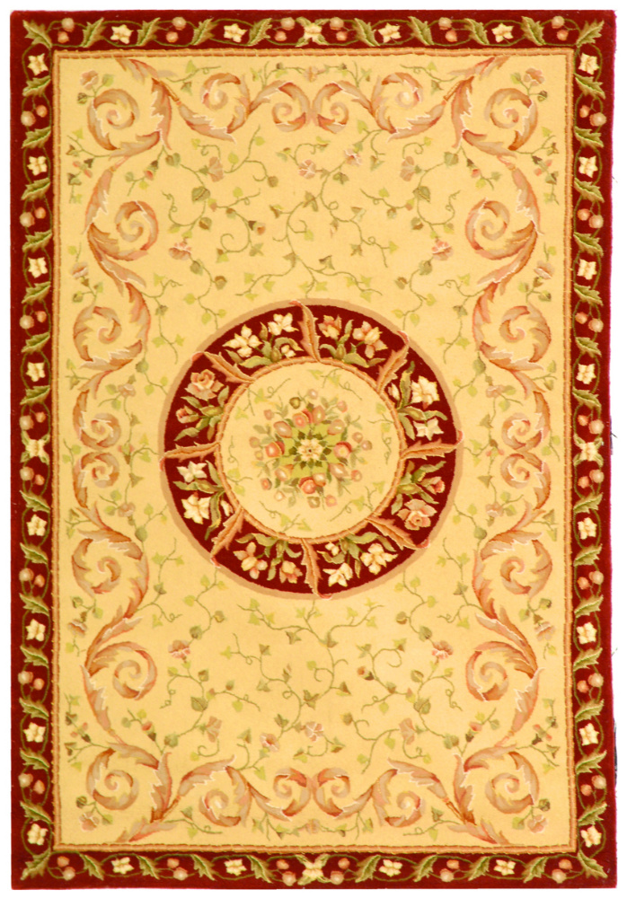 Safavieh French Tapis FT224A Beige - Dark Red Area Rug Clearance| Size| 5' X 8' - 46724X5