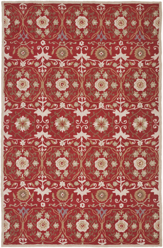 Safavieh Chelsea HK727B Red - Ivory Area Rug| Size| 5' 6'' X 5' 6'' Round - 80619x2