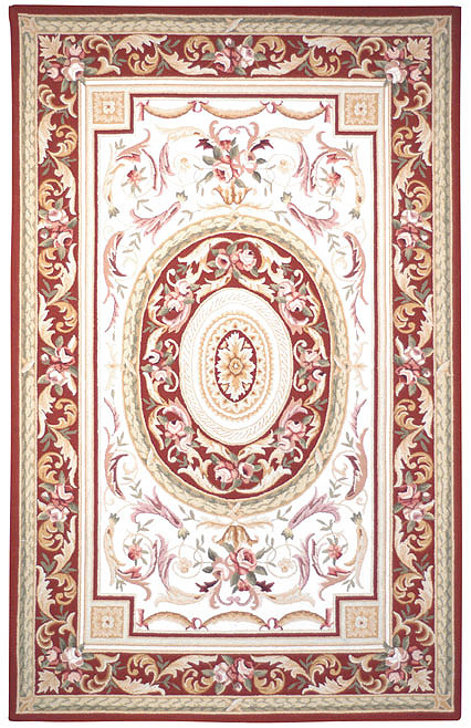 Safavieh Chelsea HK72A Ivory - Burgundy Area Rug Clearance| Size| 3' X 3' Round - 46468X2
