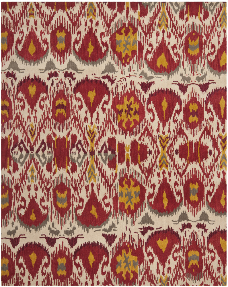 Safavieh Ikat IKT226A Ivory - Red Area Rug| Size| 3' X 5' - 80661x3