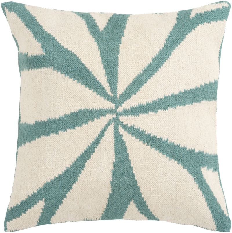 Surya Pillows FA-003 Turquoise-Ivory Clearance| Size| 18'' x 18'' Polyester Filled - 62401x2