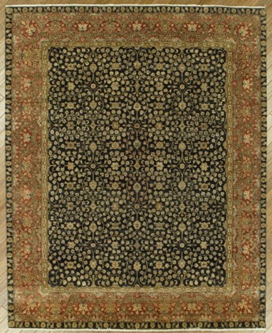 Benjamin Rug Imports Ganges Fereghan Black-Red Area Rug| Size| 6' X 6' Round - 19143x8