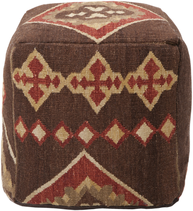 Surya Poufs Pouf-19 Burnt Sienna| Size| 18'' x 18'' x 18'' (Single) - 65450x1