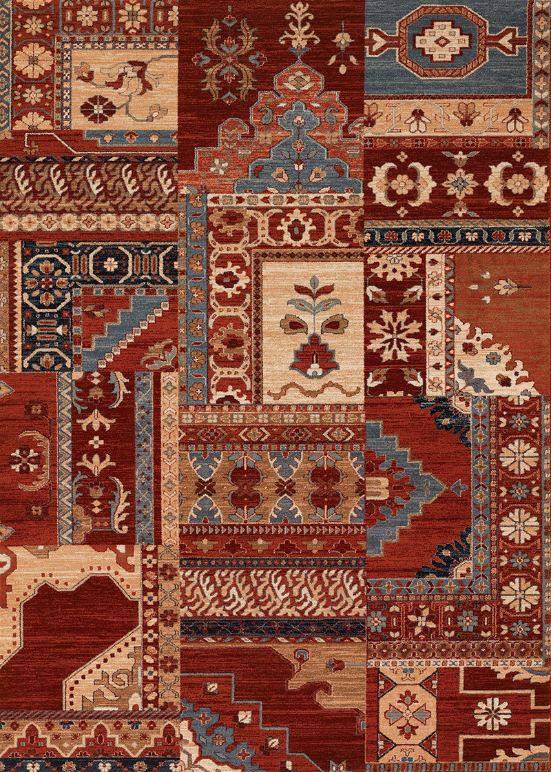 Couristan Timeless Treasures Kerman Mosaic Burgundy - Rust