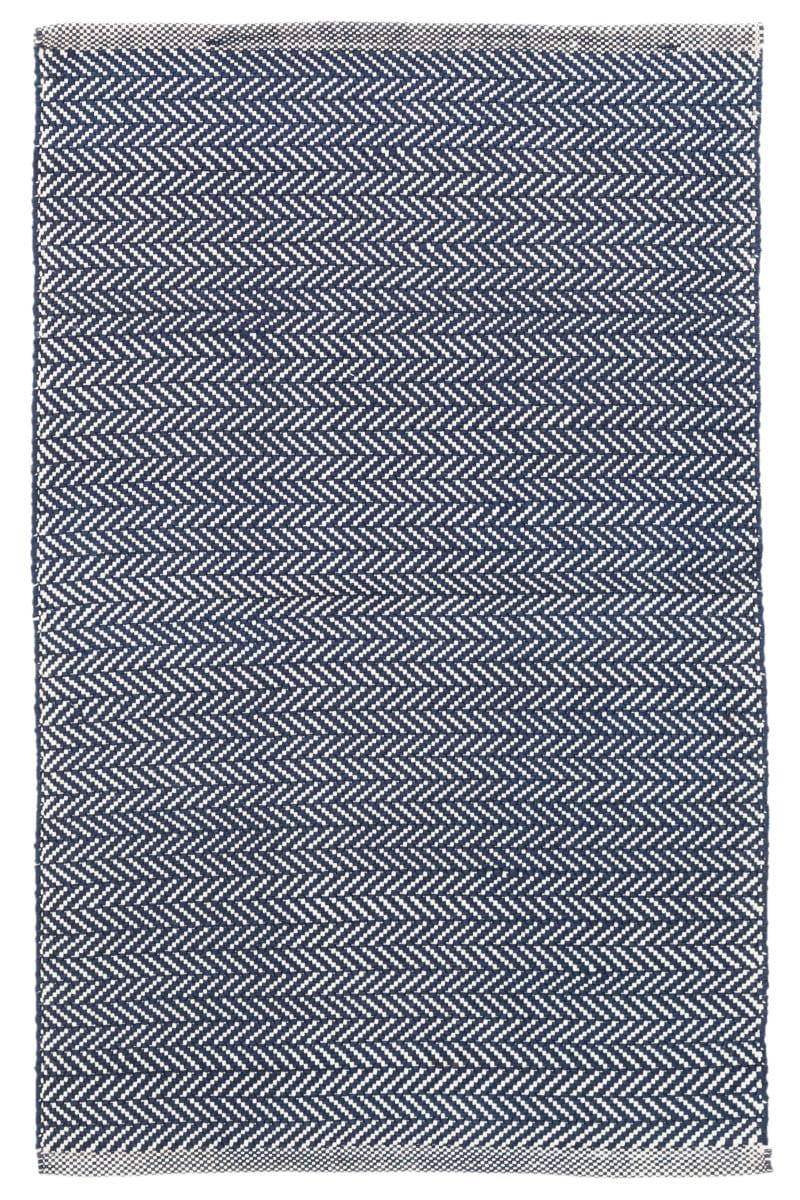 Dash And Albert Herringbone Indoor-Outdoor Navy - Ivory Area Rug - 158937