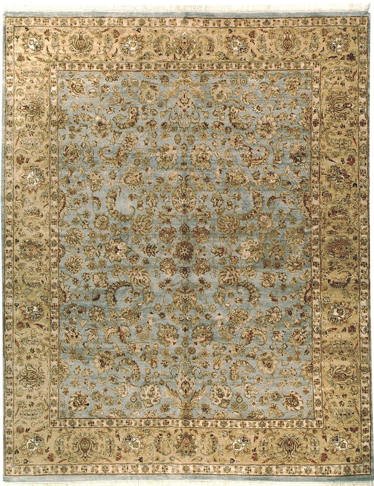 Due Process Kashmir Kashan Light Blue - Gold