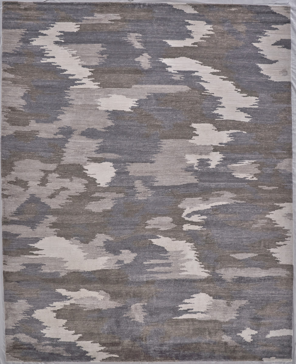 Exquisite Rugs Bamboo Silk Hand Knotted Ivory - Silver