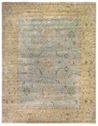 Exquisite Rugs Oushak Hand Knotted Light Blue - Gold Area Rug