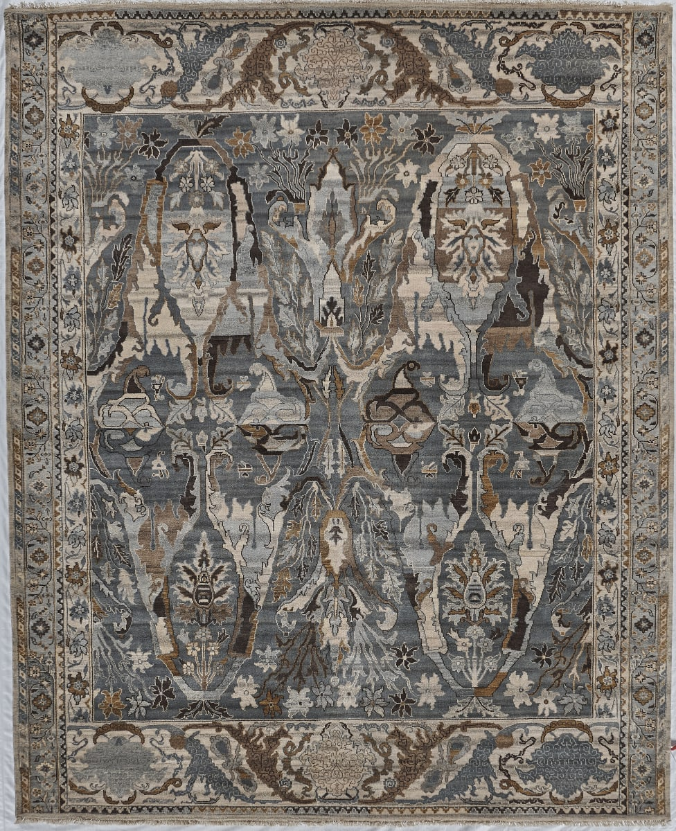 Exquisite Rugs Jurassic Hand Knotted 3799 Gray - Beige