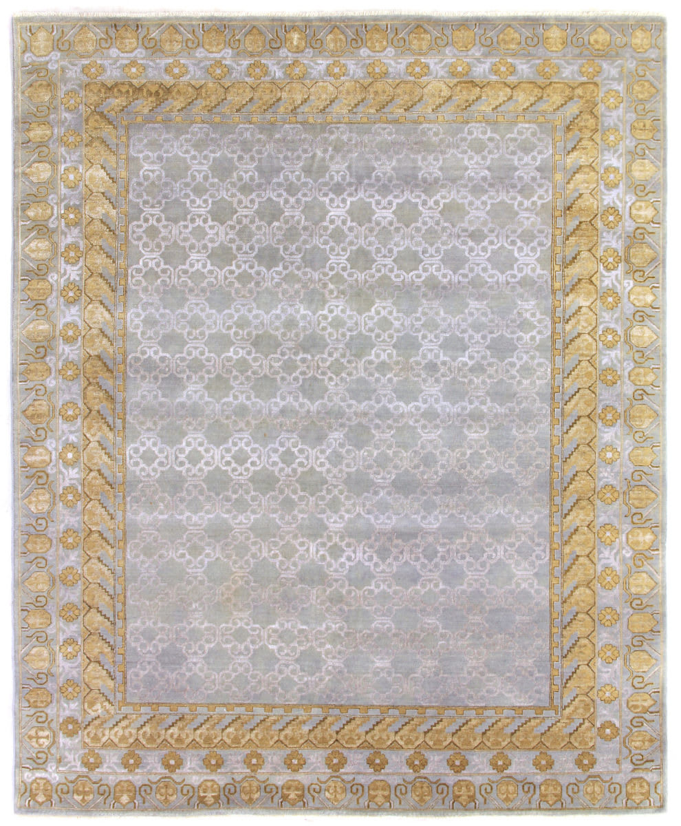 Exquisite Rugs Khotan Hand Knotted Gray - Gold Area Rug - 190715