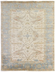 Exquisite Rugs Oushak Hand Knotted Ivory - Blue 190924 Area Rug