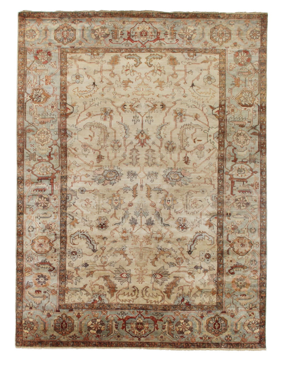 Exquisite Rugs Serapi Hand Knotted 9391 Ivory - Light Blue