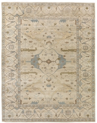 Exquisite Rugs Oushak Hand Knotted Ivory - Blue 190925 Area Rug