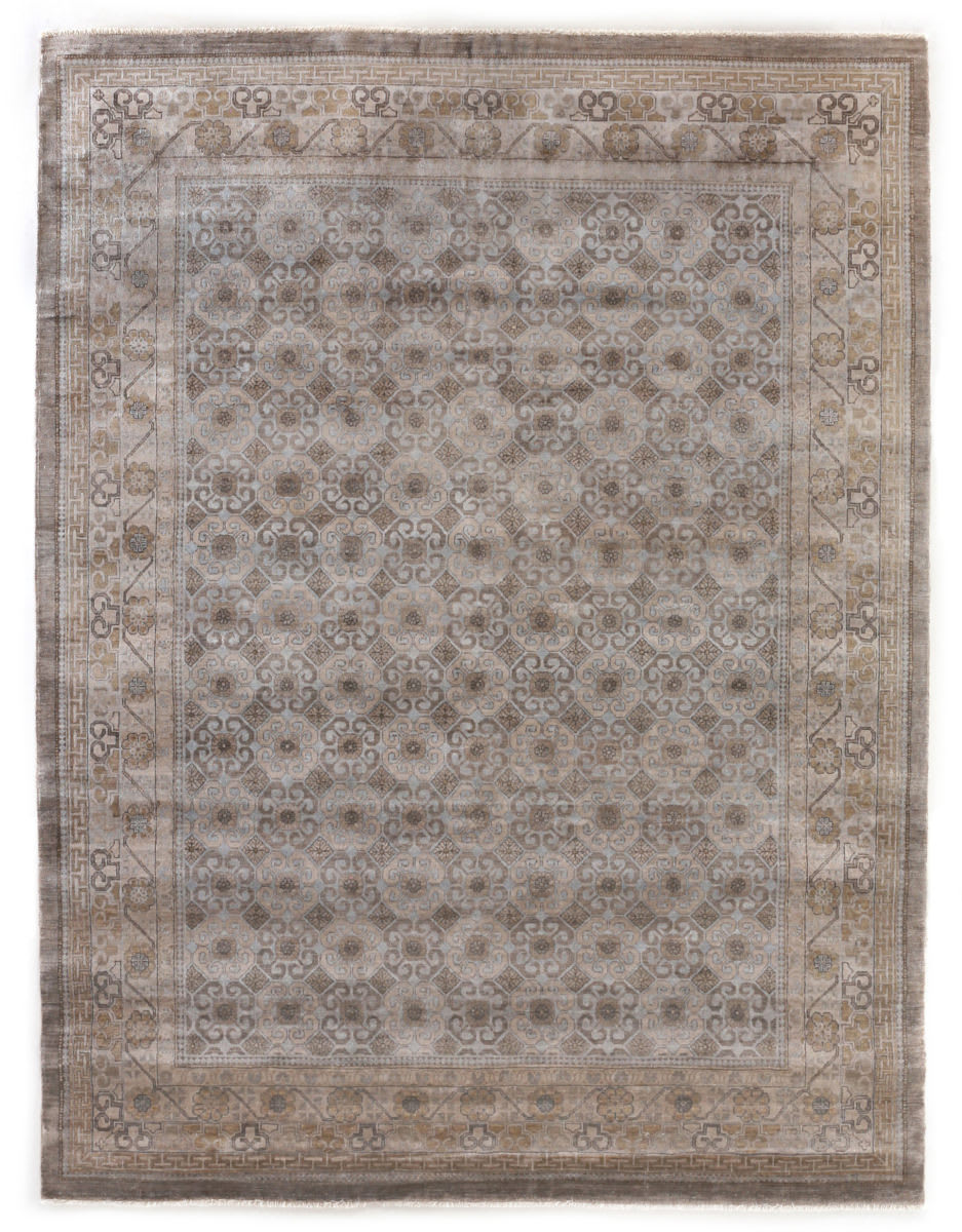 Exquisite Rugs Fine Khotan Hand Knotted 9918 Camel - Ivory