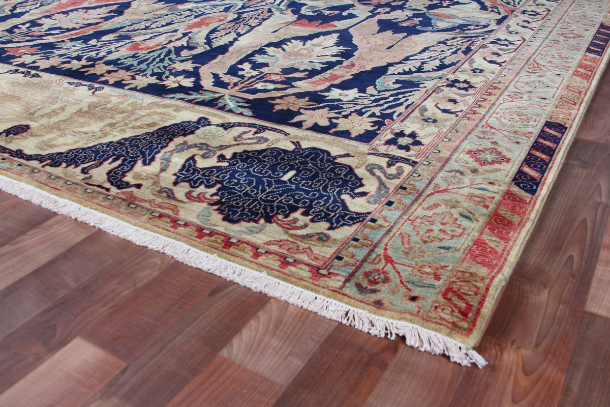 Exquisite Rugs Jurassic Hand Knotted Blue - Beige Area Rug - 190714