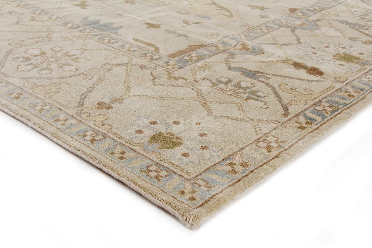 Exquisite Rugs Oushak Hand Knotted Ivory - Blue 190925 Area Rug - 190925