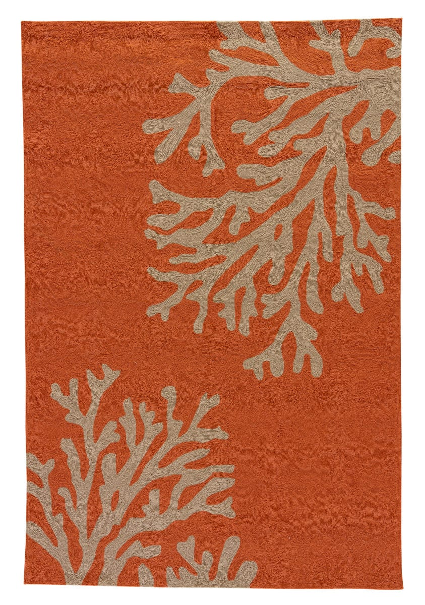 Jaipur Living Grant Design Indoor/Outdoor Bough Out GD01 Apricot Orange - Tuffet