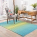 Rugstudio Sample Sale 146499R Peacock Blue - Celery Green Area Rug Last Chance - 146499R