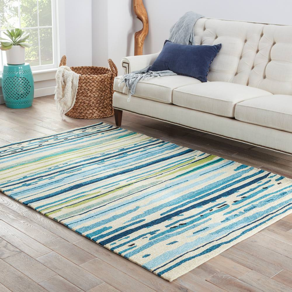 Jaipur Living Colours Sketchy Lines Co19 Snow White - Mallard Blue Area Rug - 109681