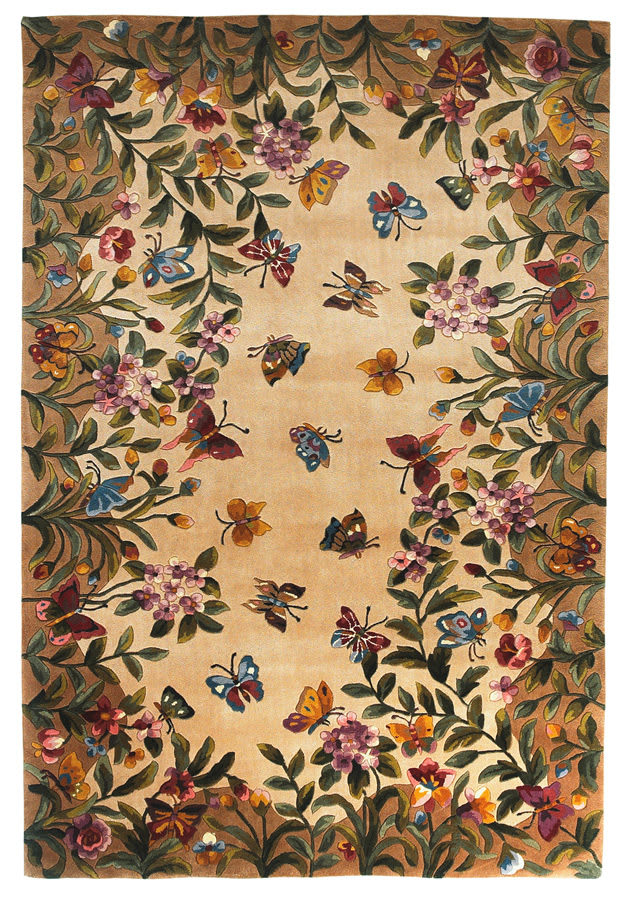 Kas Emerald Butterfly Garden 9019 Antique Beige Area Rug - 11786