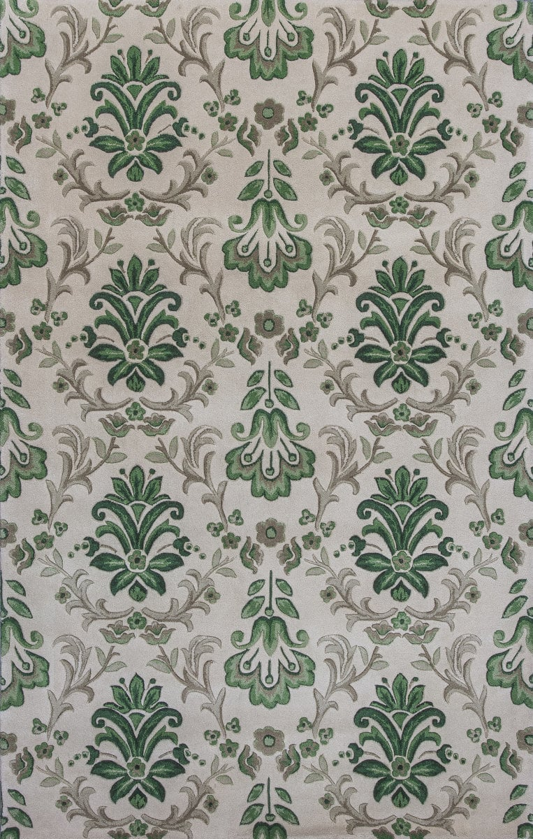 KAS Emerald 9038 Ivory-Green Damask