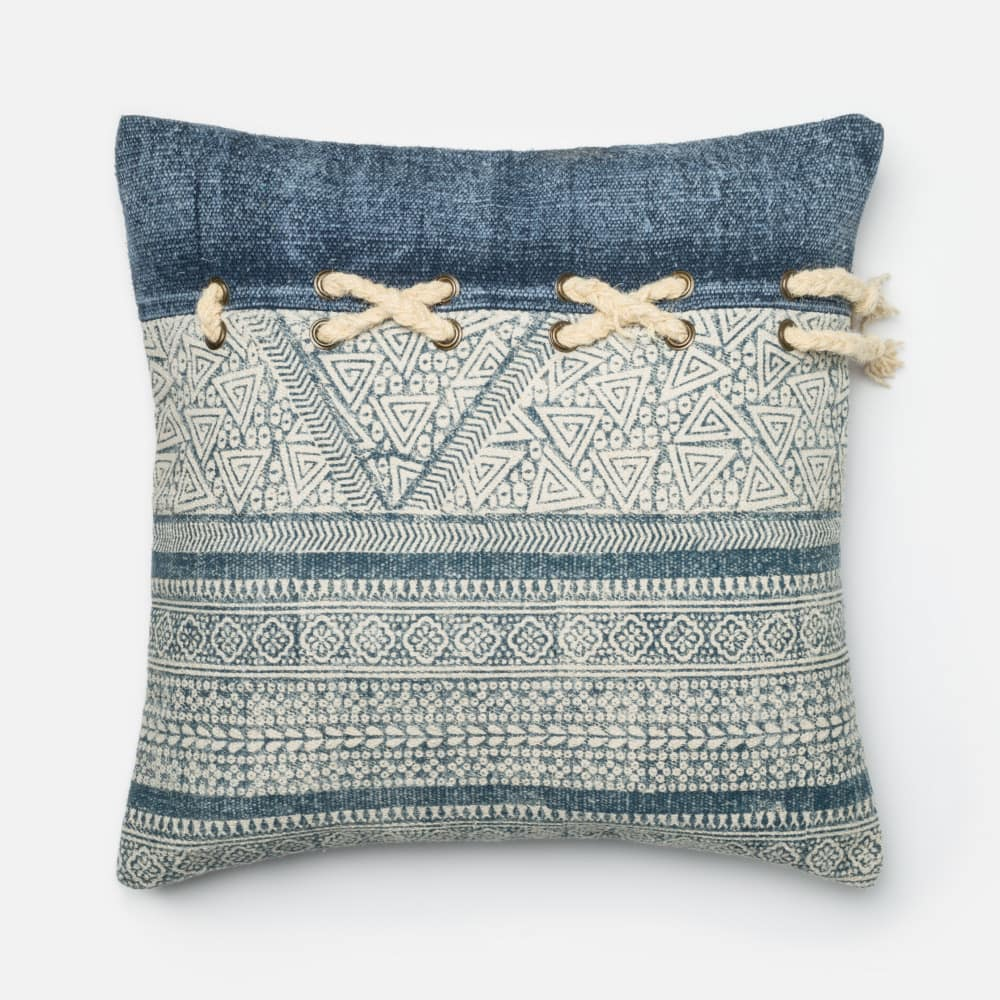Loloi Printed Cotton Pillow P0281 Blue - Ivory