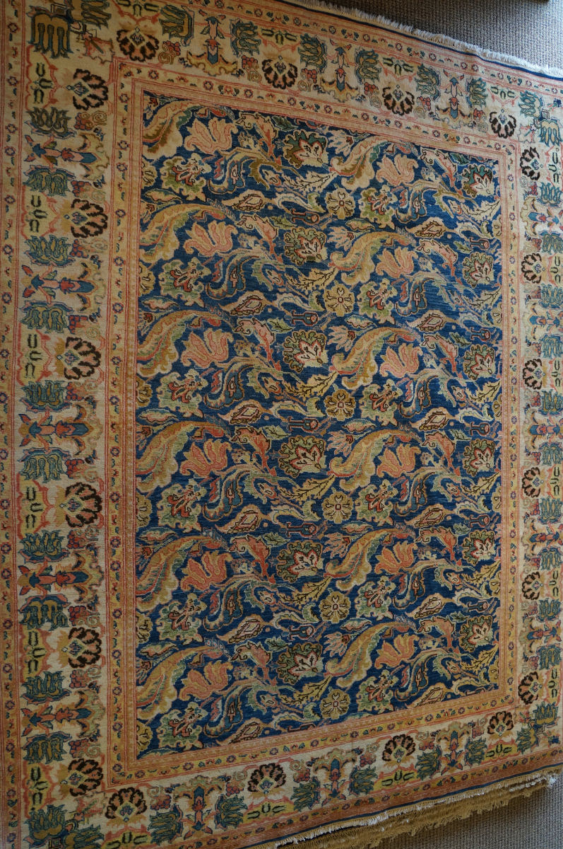 ORG Antique Repro Floral Blue - Rust