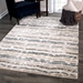 Orian Plush Shag Modern Abstract Distressed Blue Area Rug - 211927