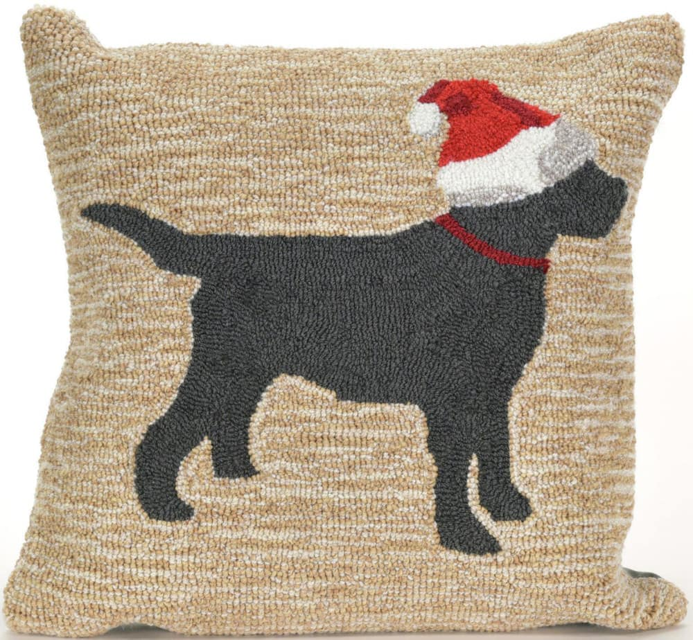 Trans-Ocean Frontporch Pillow Christmas Dog 1857/12 Neutral