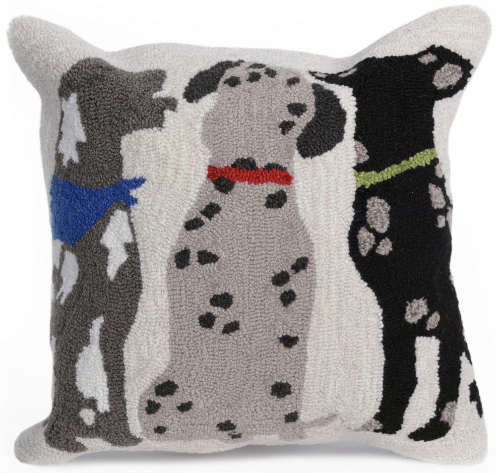 Trans-Ocean Frontporch Pillow Three Dogs 4267/44 Multi