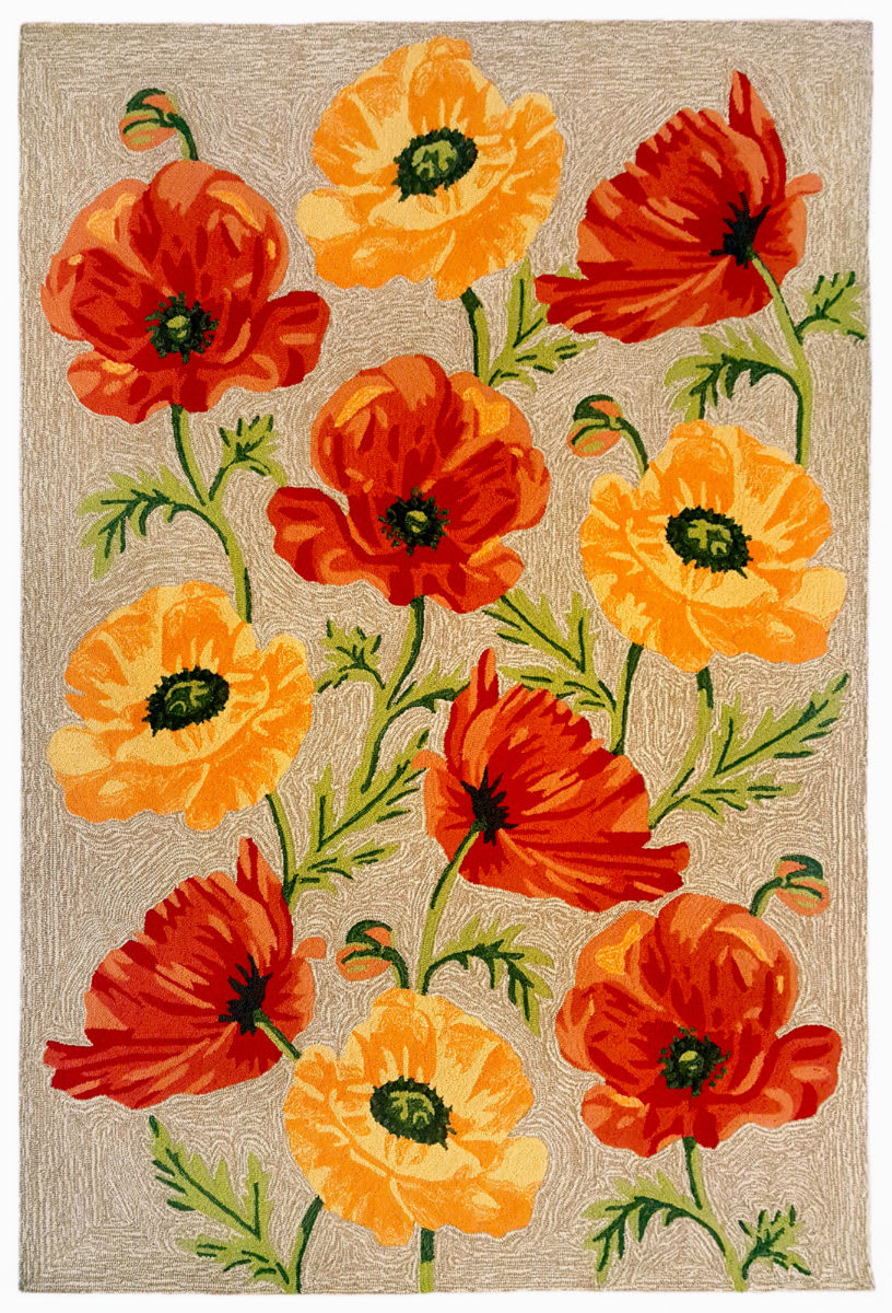 Trans-Ocean Ravella Icelandic Poppies 227212 Neutral Area Rug - 190064