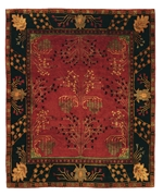 Tufenkian Setana Donegal Branches Ruby - Deep Pine Area Rug